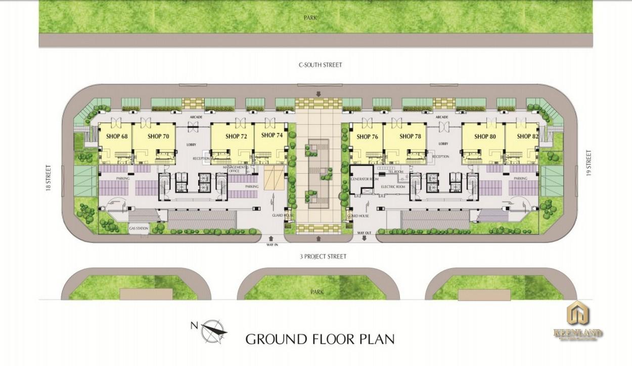 Mặt bằng tầng trệt dự án Nam Phúc Le Jardin Quận 7