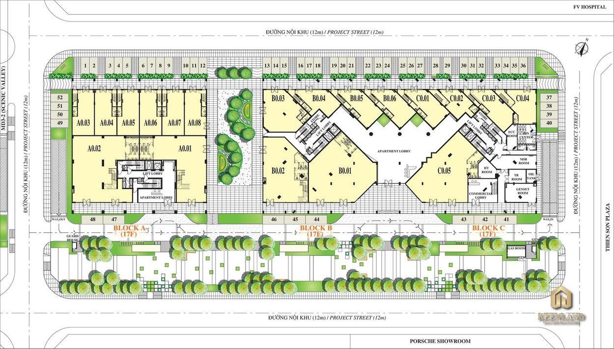 Mặt bằng tầng trệt dự án Scenic Valley 2 Quận 7
