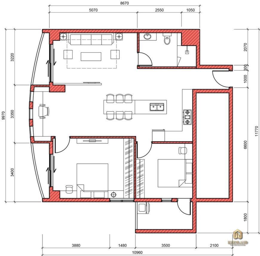 Mặt bằng thiết kế nội thất căn hộ chung cư chung cư Vạn Đô Quận 4