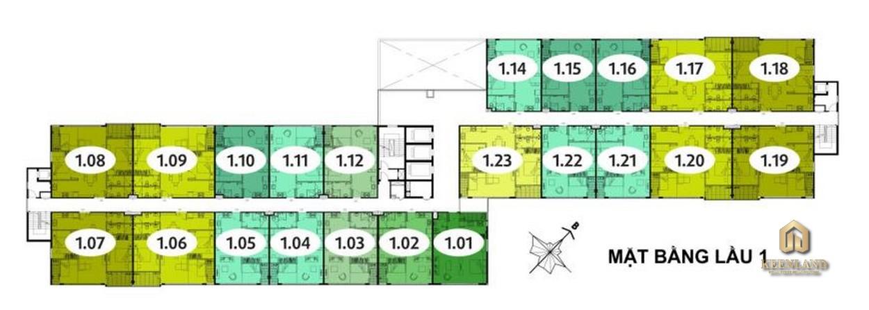 Mặt bằng tổng thể tầng 1 Block B dự án EHome 5