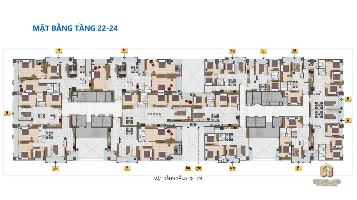 Mặt bằng tổng thể tầng 22-24 dự án Tam Đức Plaza
