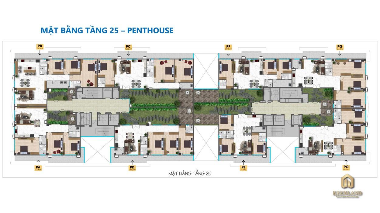 Mặt bằng tổng thể tầng 25 dự án Tam Đức Plaza