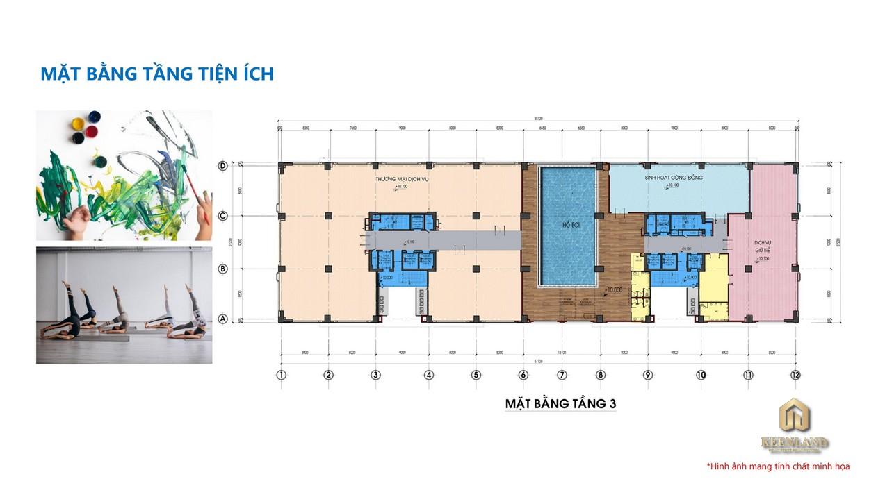 Mặt bằng tổng thể tầng 3 dự án Tam Đức Plaza