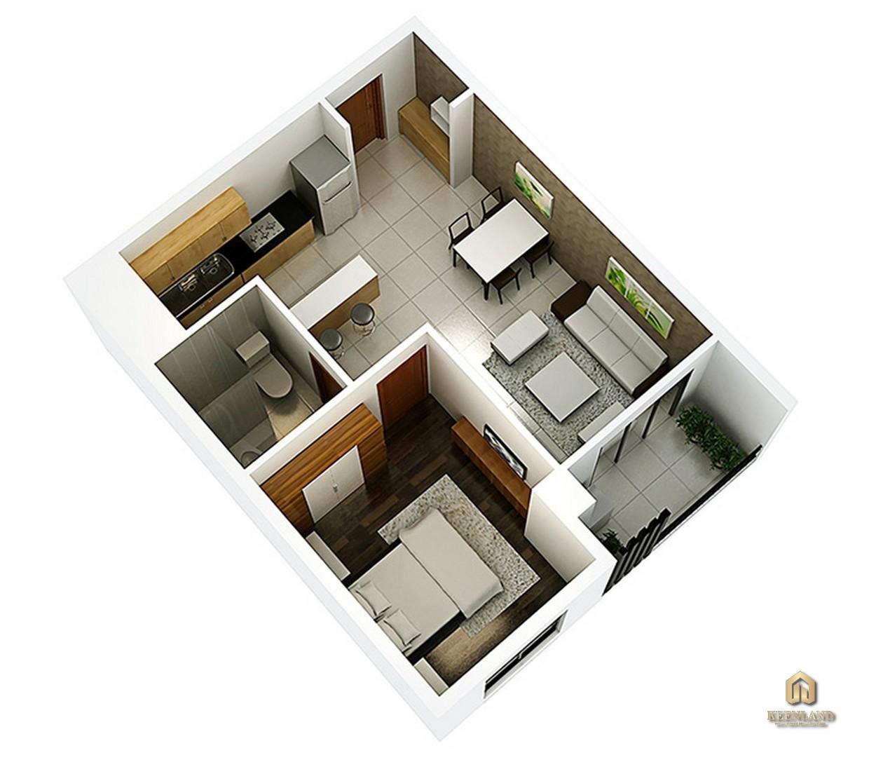 Thiết kế chi tiết căn hộ 1 phòng ngủ