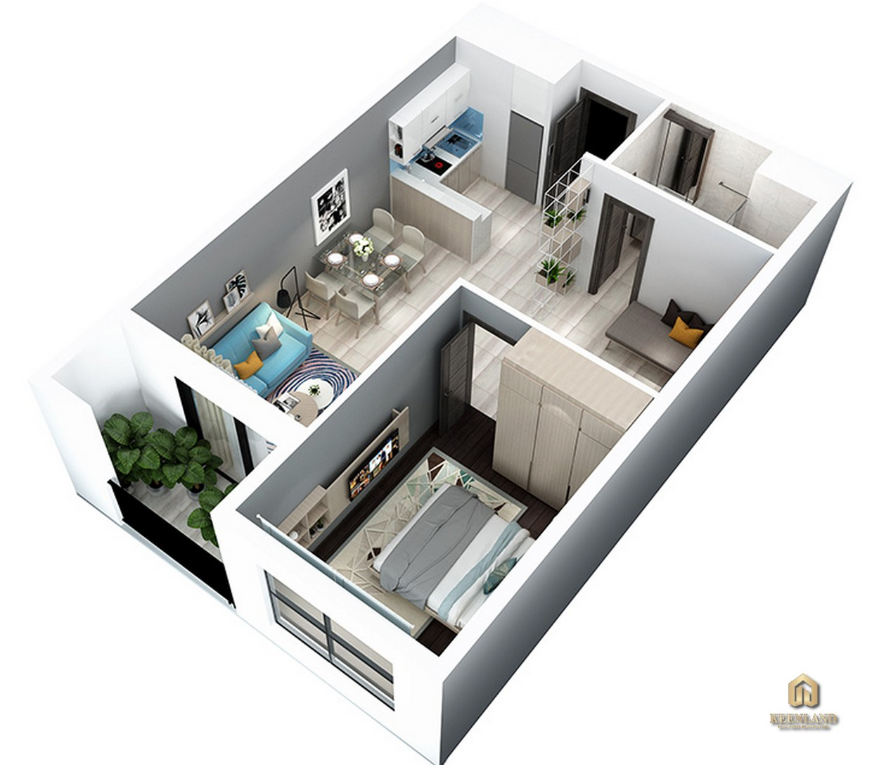 Thiết kế chi tiết căn hộ 1 phòng ngủ và 1 phòng đa năng