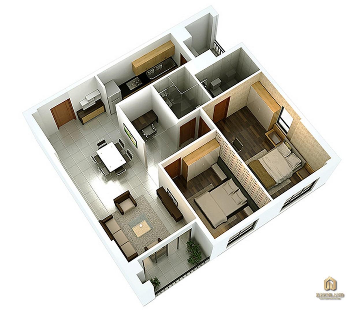 Thiết kế chi tiết căn hộ 2 phòng ngủ và 1 phòng đa năng