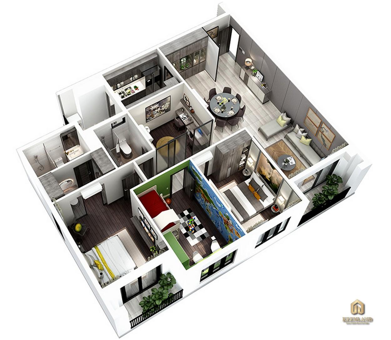 Thiết kế chi tiết căn hộ 3 phòng ngủ và 1 phòng đa năng