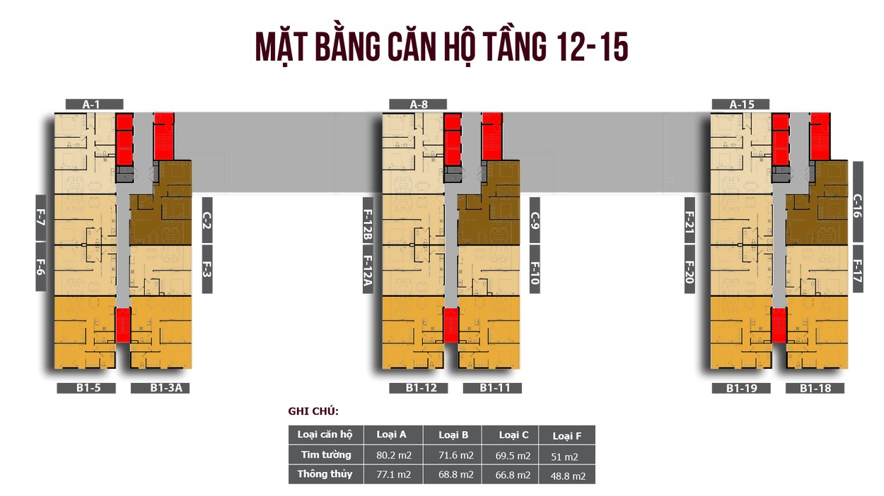 Mặt bằng căn hộ Officetel Tầng 12-15