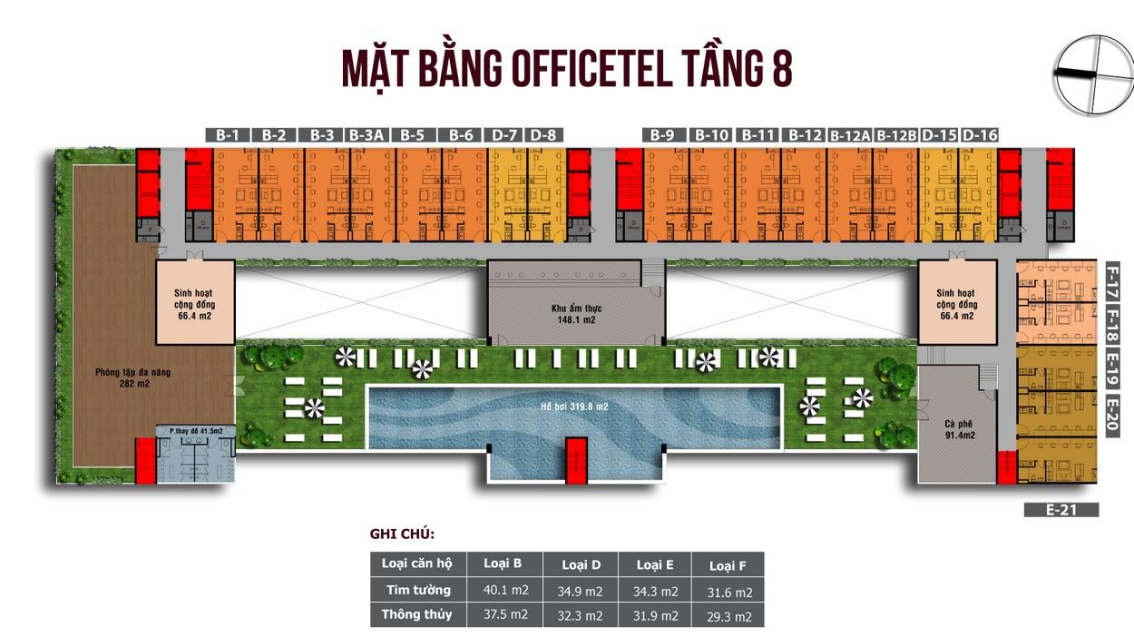 Mặt bằng căn hộ Officetel Tầng 8