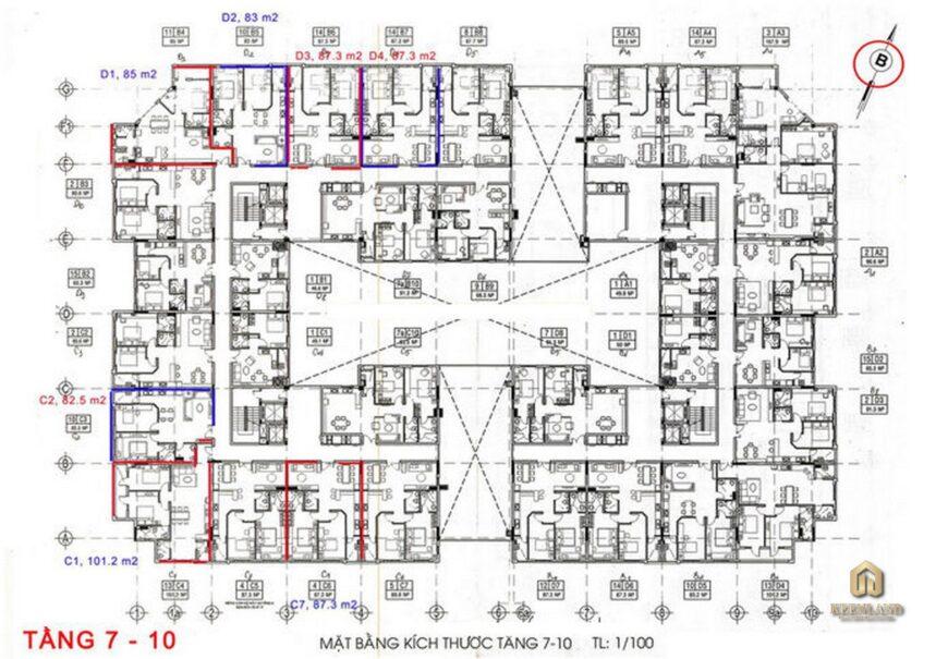 Mặt bằng tầng 7 - 10 dự án Ruby Garden