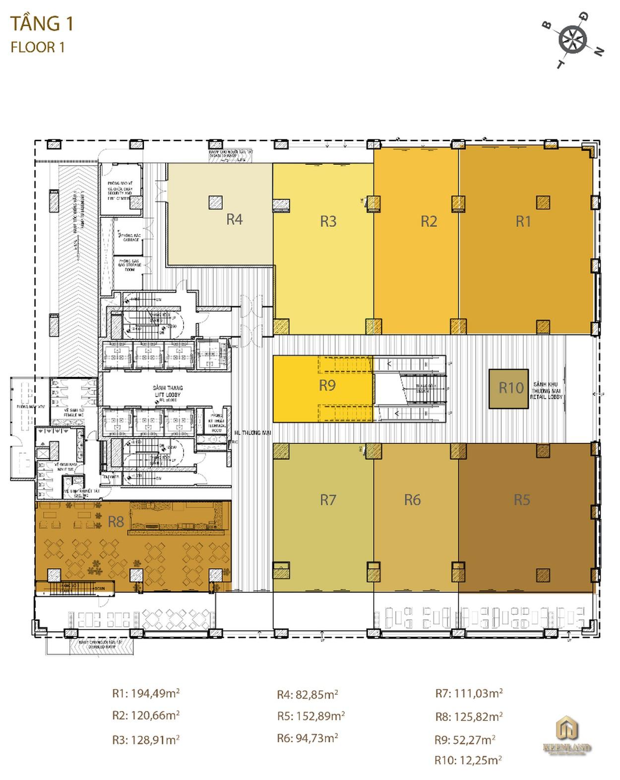 Mặt bằng tầng 1 dự án Golden King Quận 7