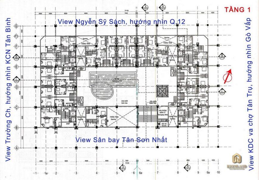 Mặt bằng tầng 1 dự án Ruby Garden