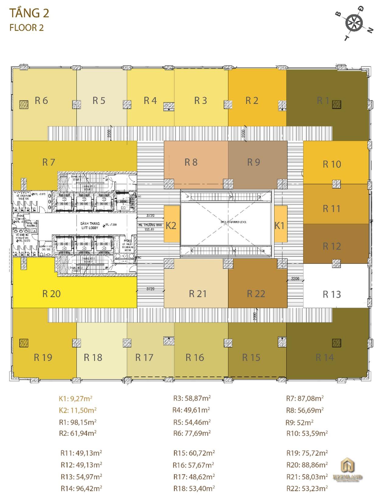 Mặt bằng tầng 2 dự án Golden King Quận 7