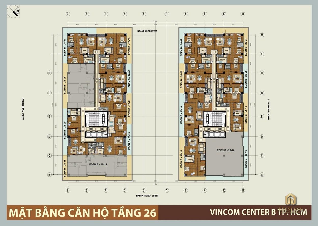 Mặt bằng tầng 26 dự án Vinhomes Đồng Khởi
