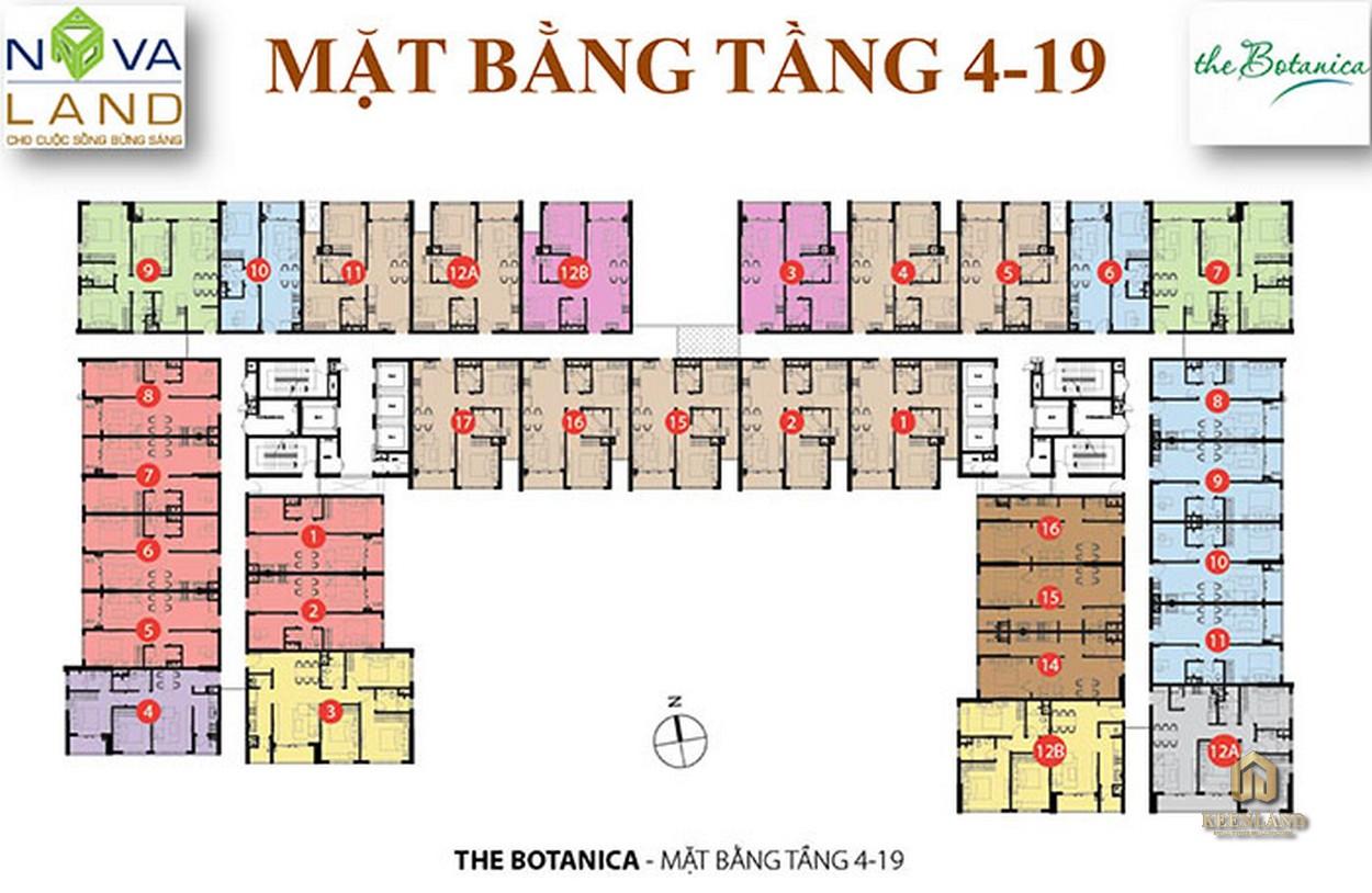 Mặt bằng tầng 4-19 dự án The Botanica