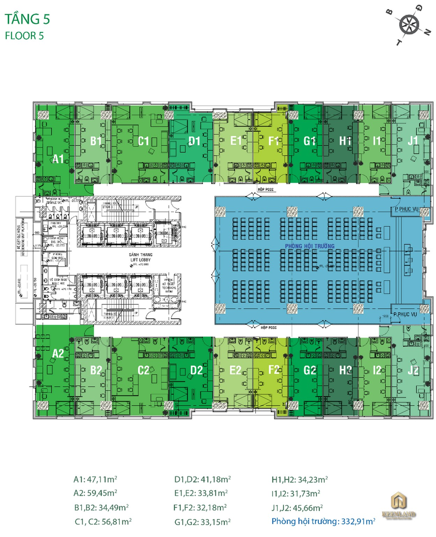 Mặt bằng tầng 5 dự án Golden King Quận 7