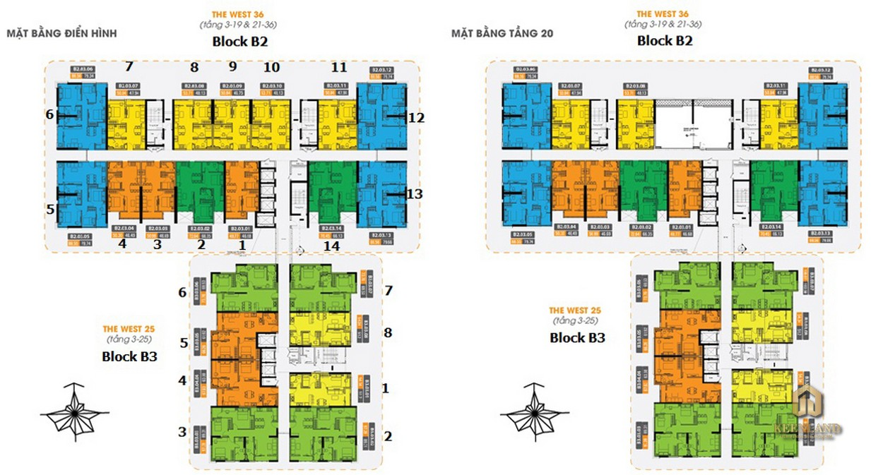 Mặt bằng tầng điển hình Block B2 B3 dự án The Western Capital