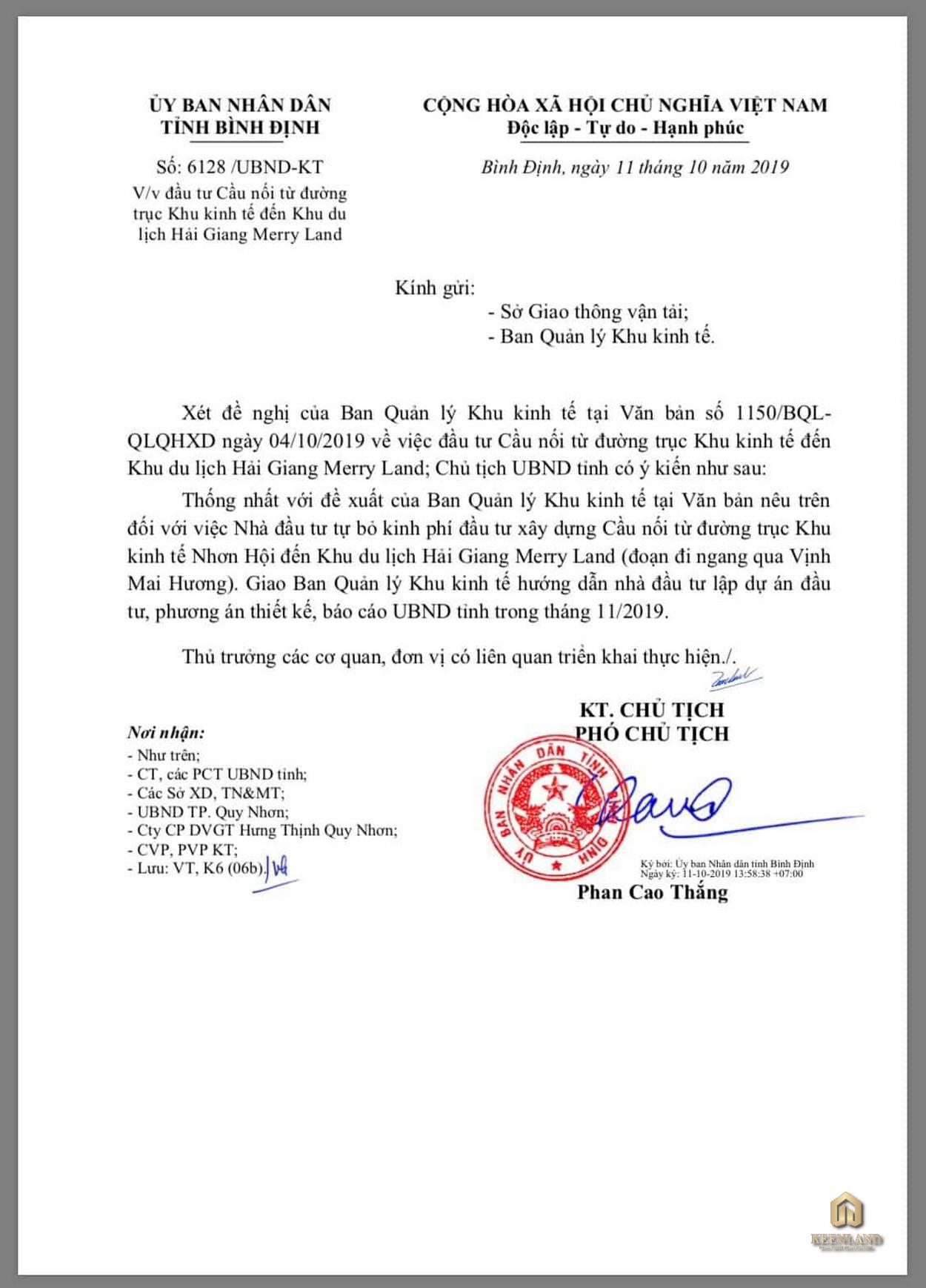 Pháp lý dự án Merry Land chủ đầu tư Hưng Thịnh
