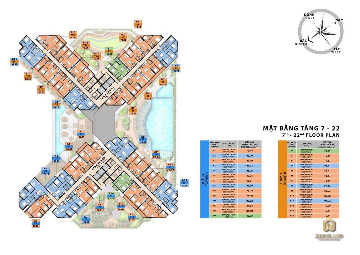 Mặt bằng tầng 7-22 dự án căn hộ Sora Gardens II