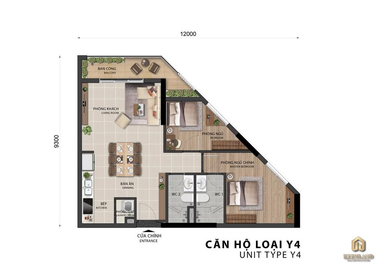 Thiết kế căn hộ Sora Gardens II loại Y4