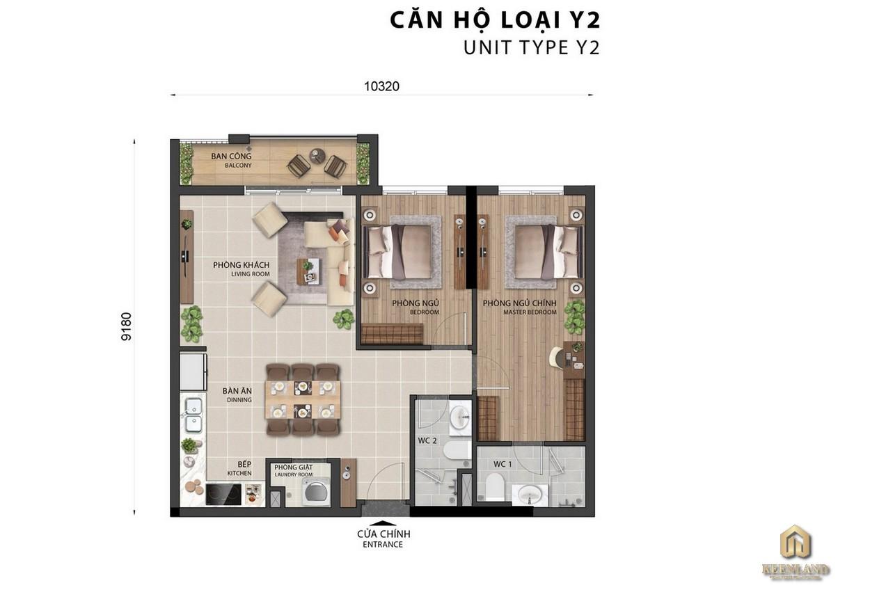 Thiết kế căn hộ Sora Gardens II loại Y2