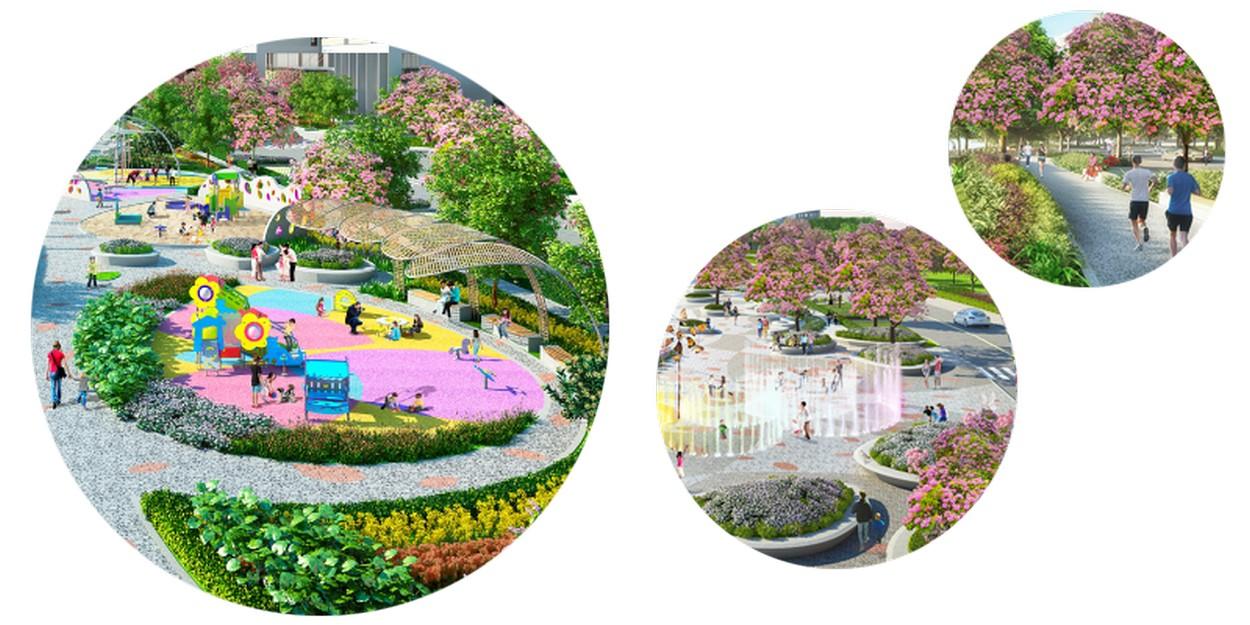Công viên Sakura đối diện dự án Midtown The Peak Quận 7
