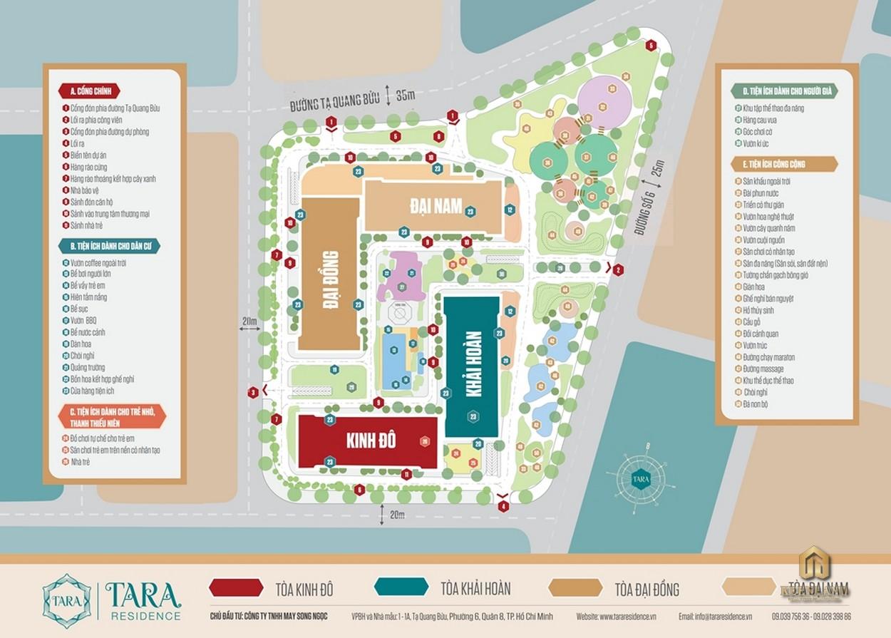Sơ đồ tiện ích nội khu dự án Tara Residence
