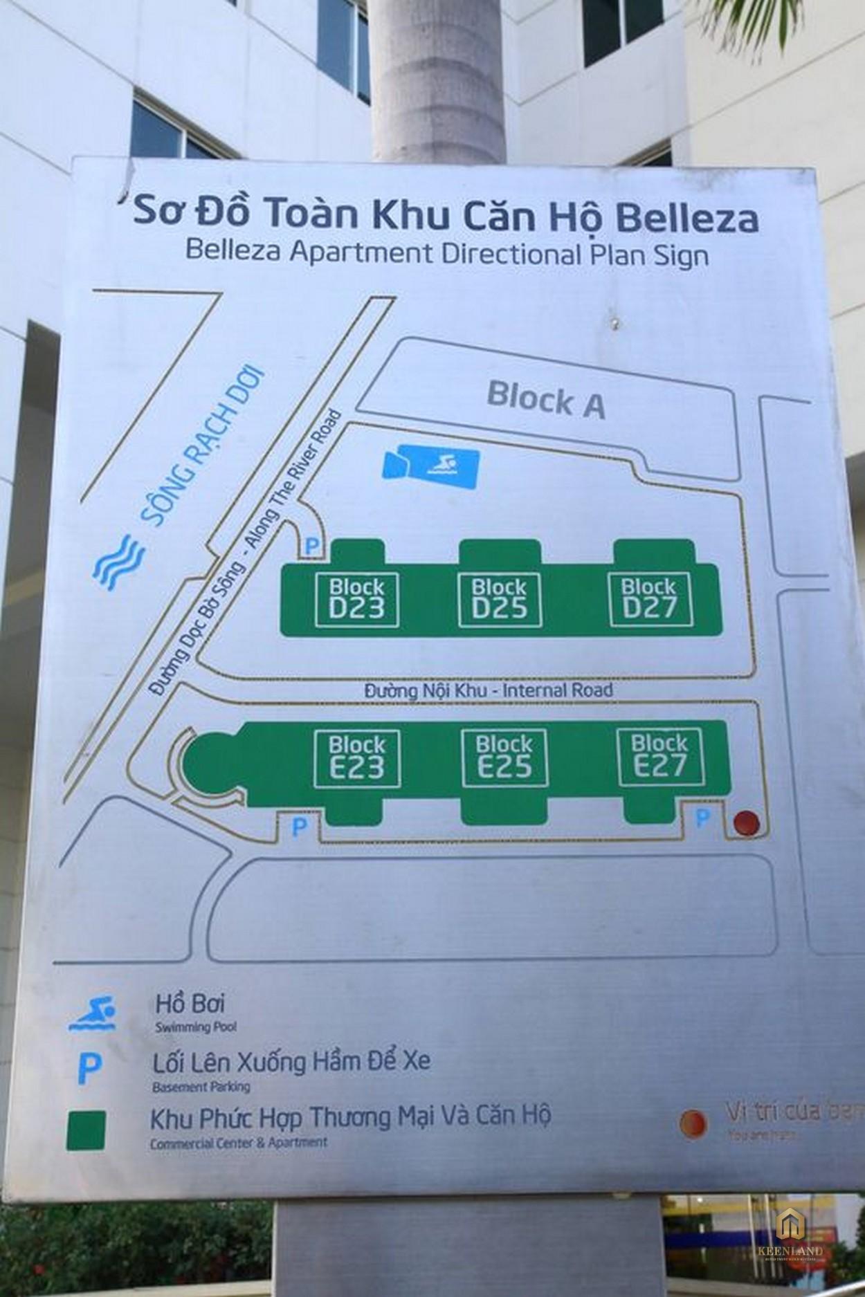 Sơ đồ toàn khu căn hộ Belleza Apartment Quận 7