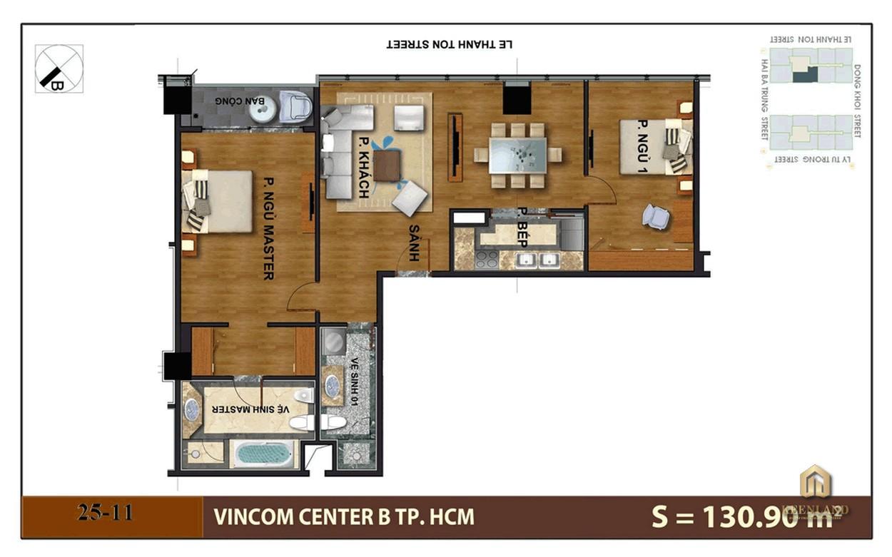 Mặt bằng căn hộ 2 phòng ngủ tại Vinhomes Đồng Khởi