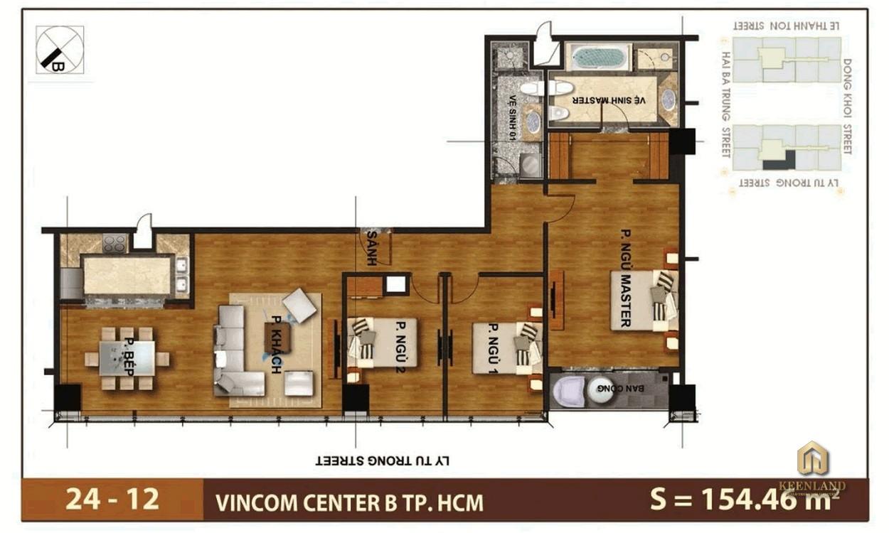 Mặt bằng căn hộ 3 phòng ngủ tại Vinhomes Đồng Khởi