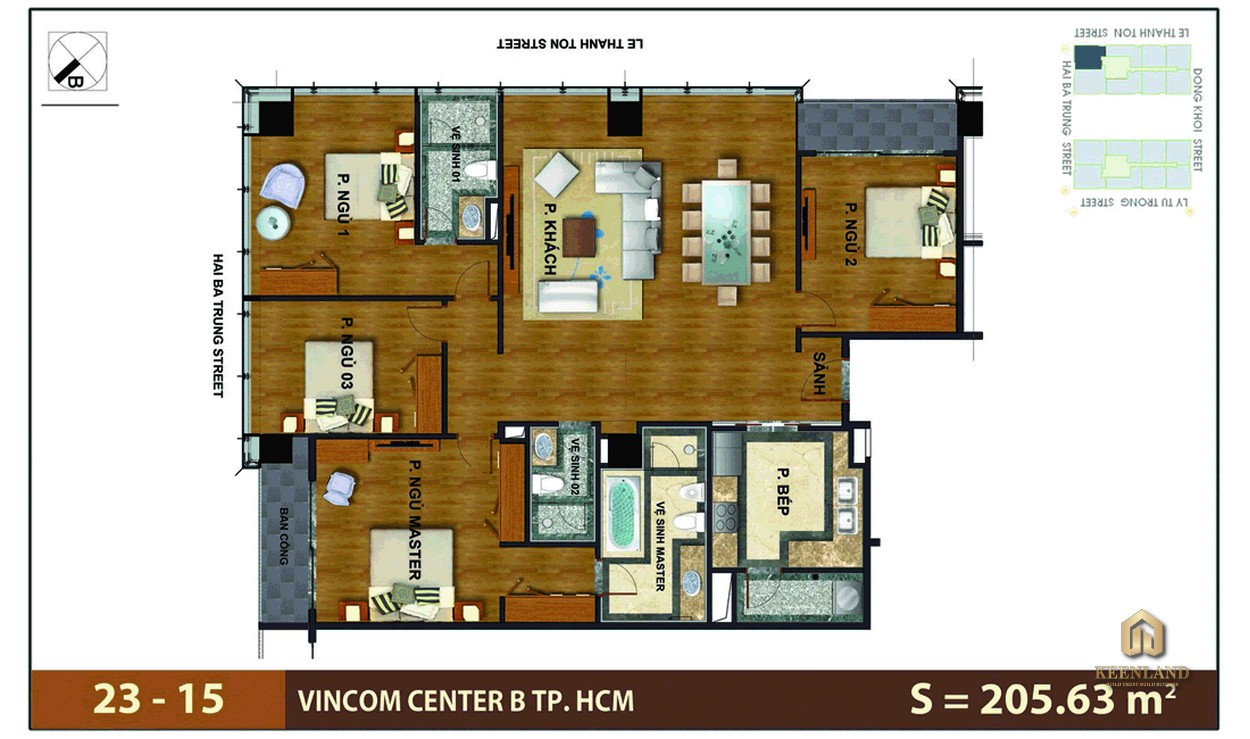 Mặt bằng căn hộ 4 phòng ngủ tại Vinhomes Đồng Khởi