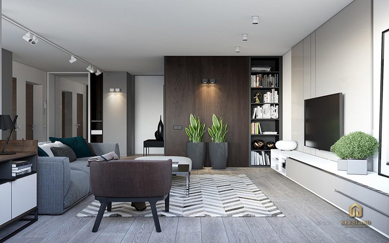 Thiết kế phòng khách căn hộ mẫu dự án Central Garden