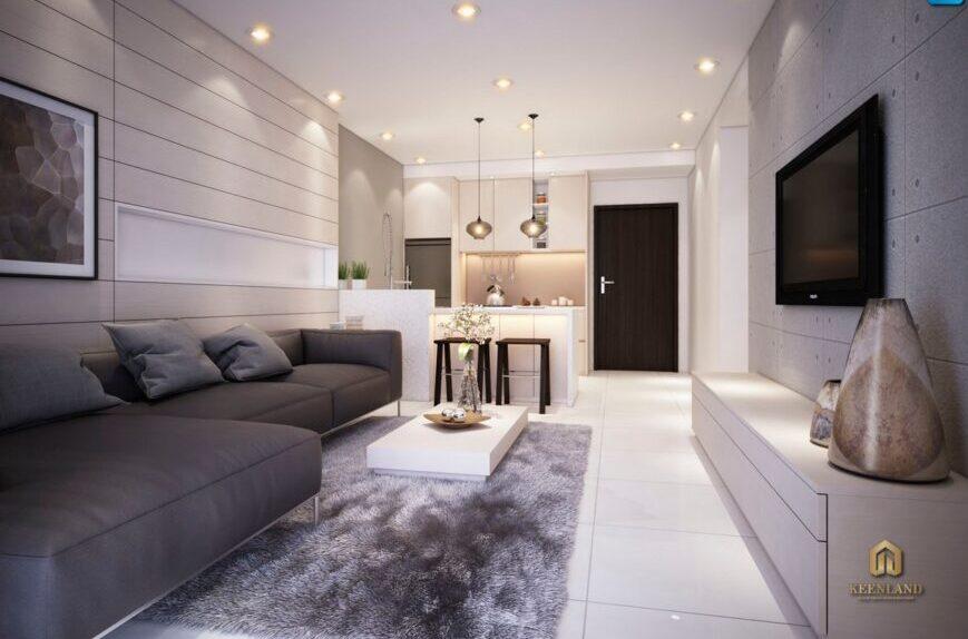 Thiết kế phòng khách căn hộ mẫu chung cư Vạn Đô Quận 4