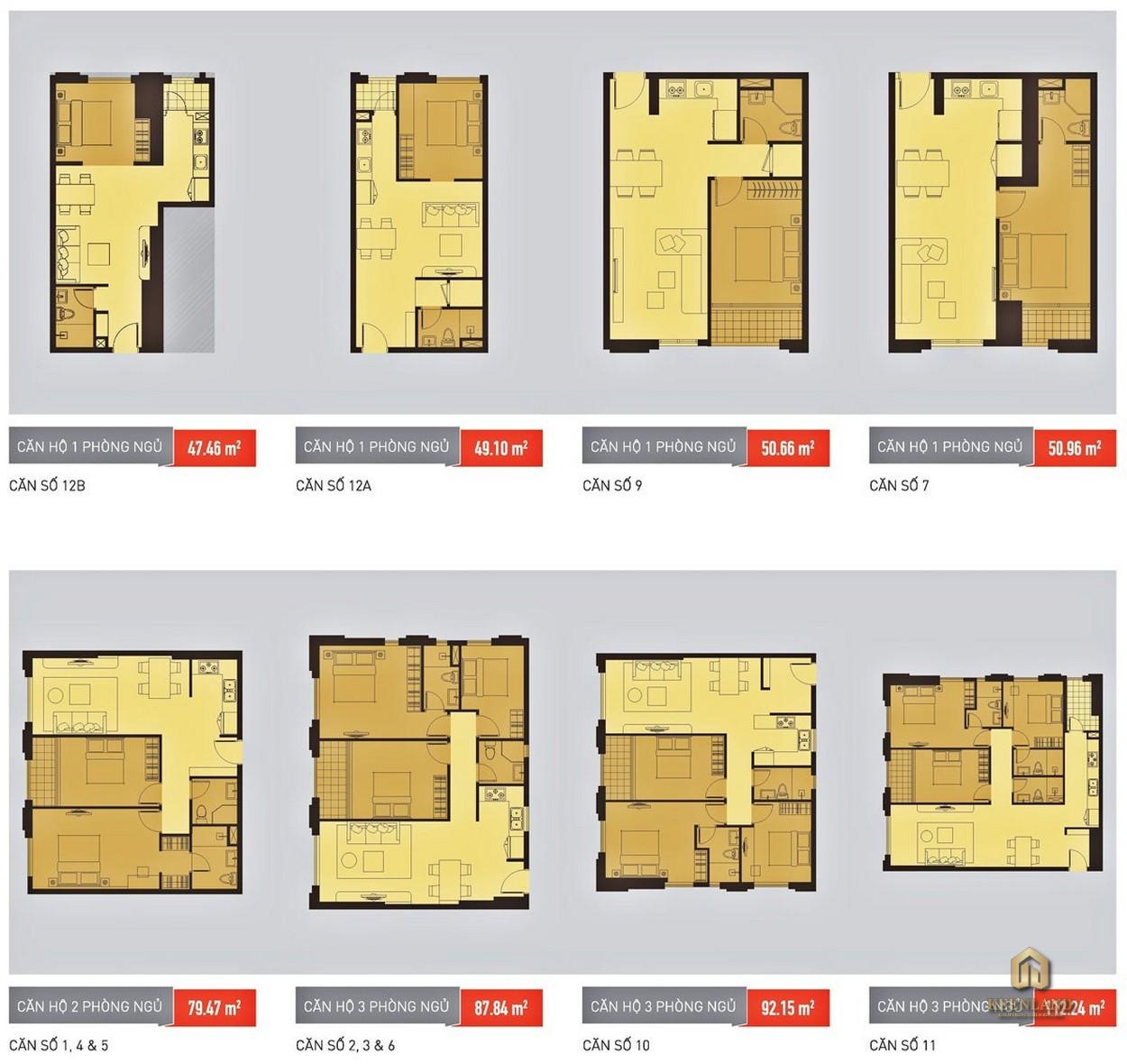 Thiết kế các căn hộ Icon 56 theo diện tích