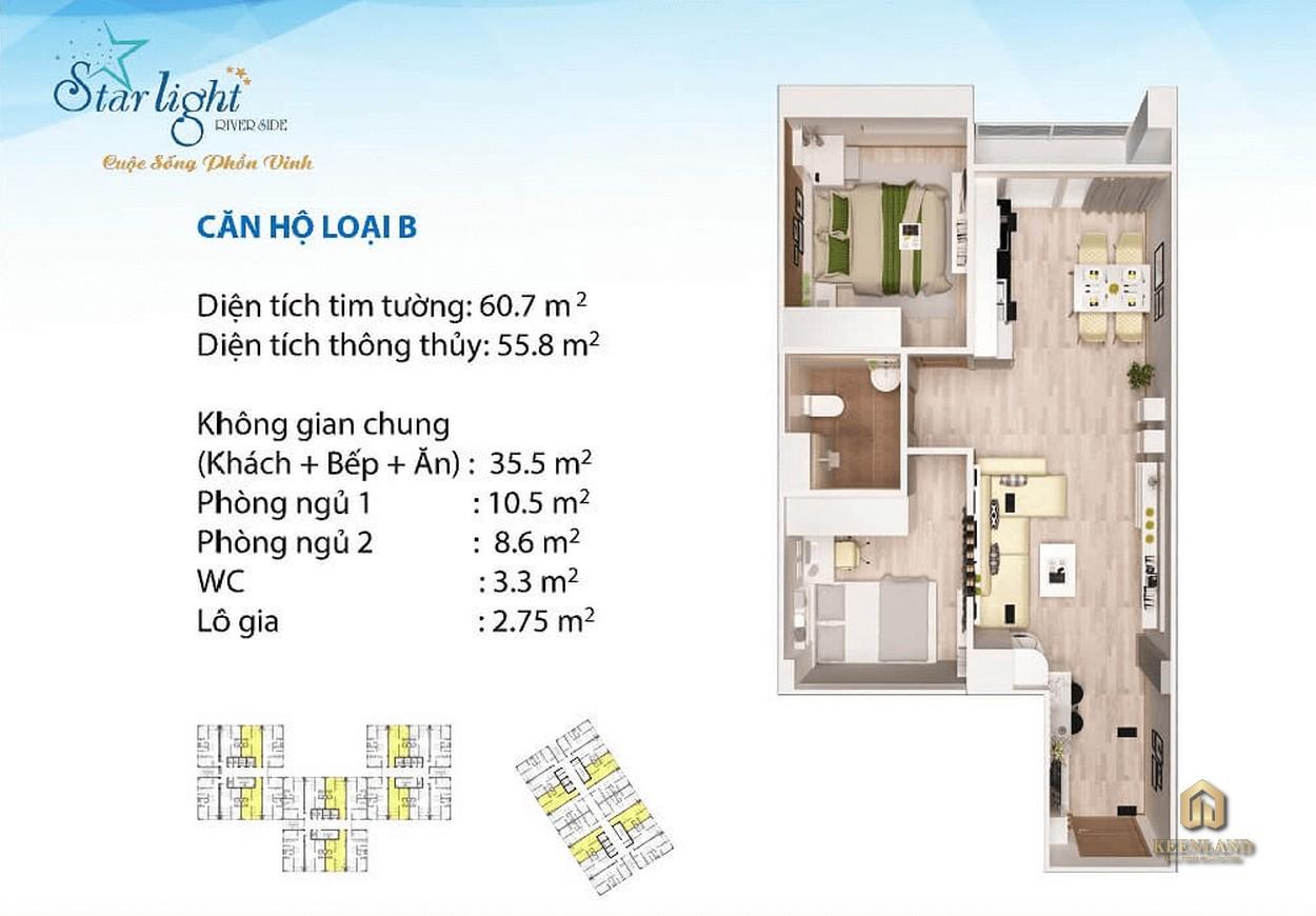 Thiết kế căn hộ Starlight Riverside 60m2