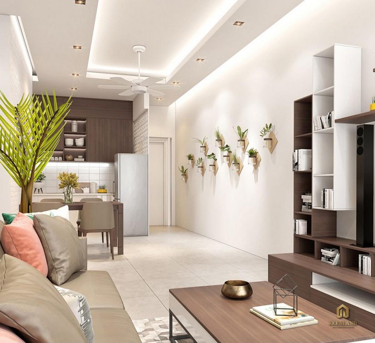 Thiết kế phòng khách căn hộ mẫu chung cư Thế Hệ Mới