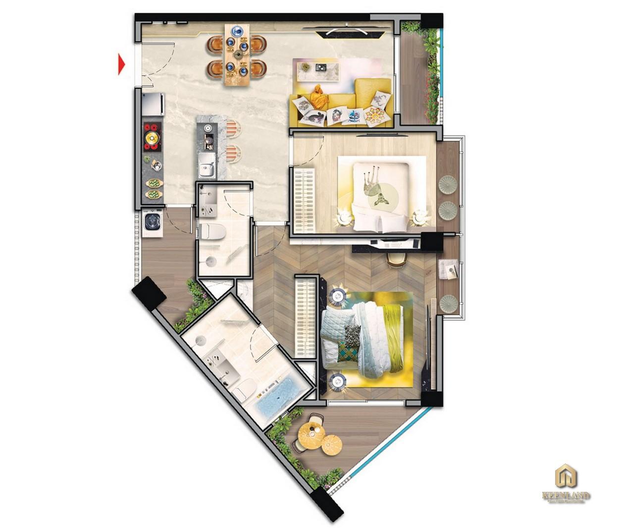 Thiết kế chi tiết căn hộ điển hình 2PN tòa M8A dự án Midtown The Peak Quận 7