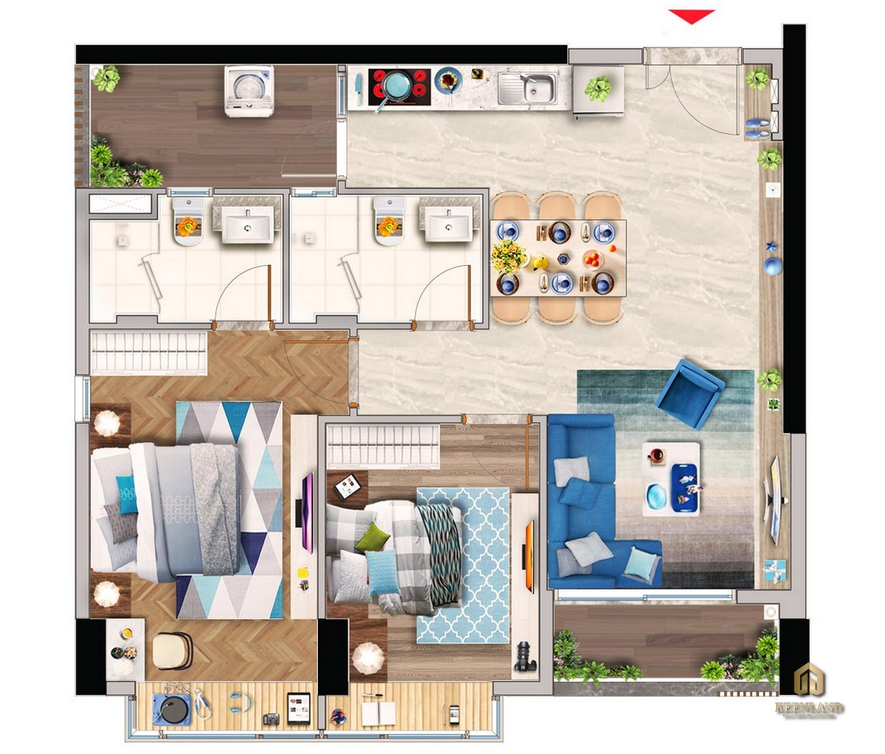Thiết kế chi tiết căn hộ điển hình 2PN tòa M8B dự án Midtown The Peak Quận 7