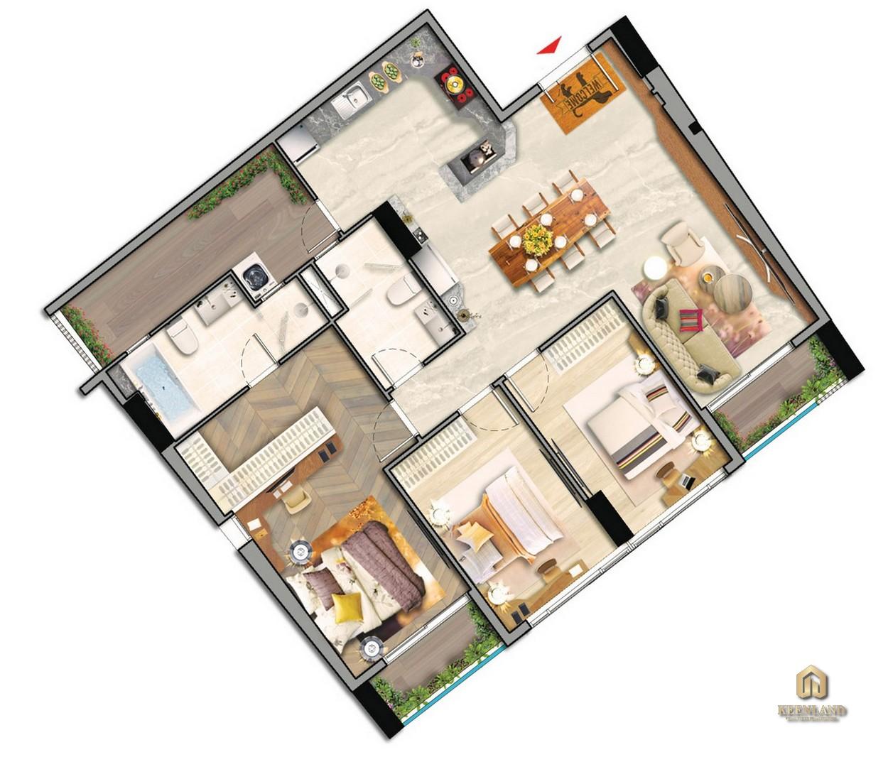 Thiết kế chi tiết căn hộ điển hình 3PN tòa M8A dự án Midtown The Peak Quận 7