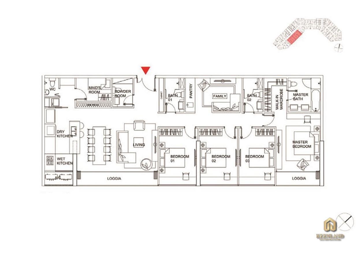 Thiết kế chi tiết căn hộ 4 phòng ngủ
