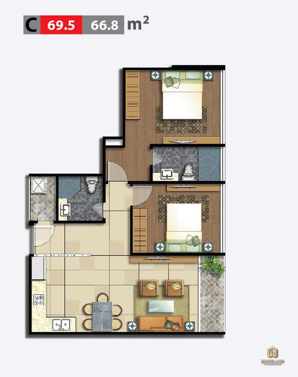 Thiết kế chi tiết căn hộ 2 phòng ngủ