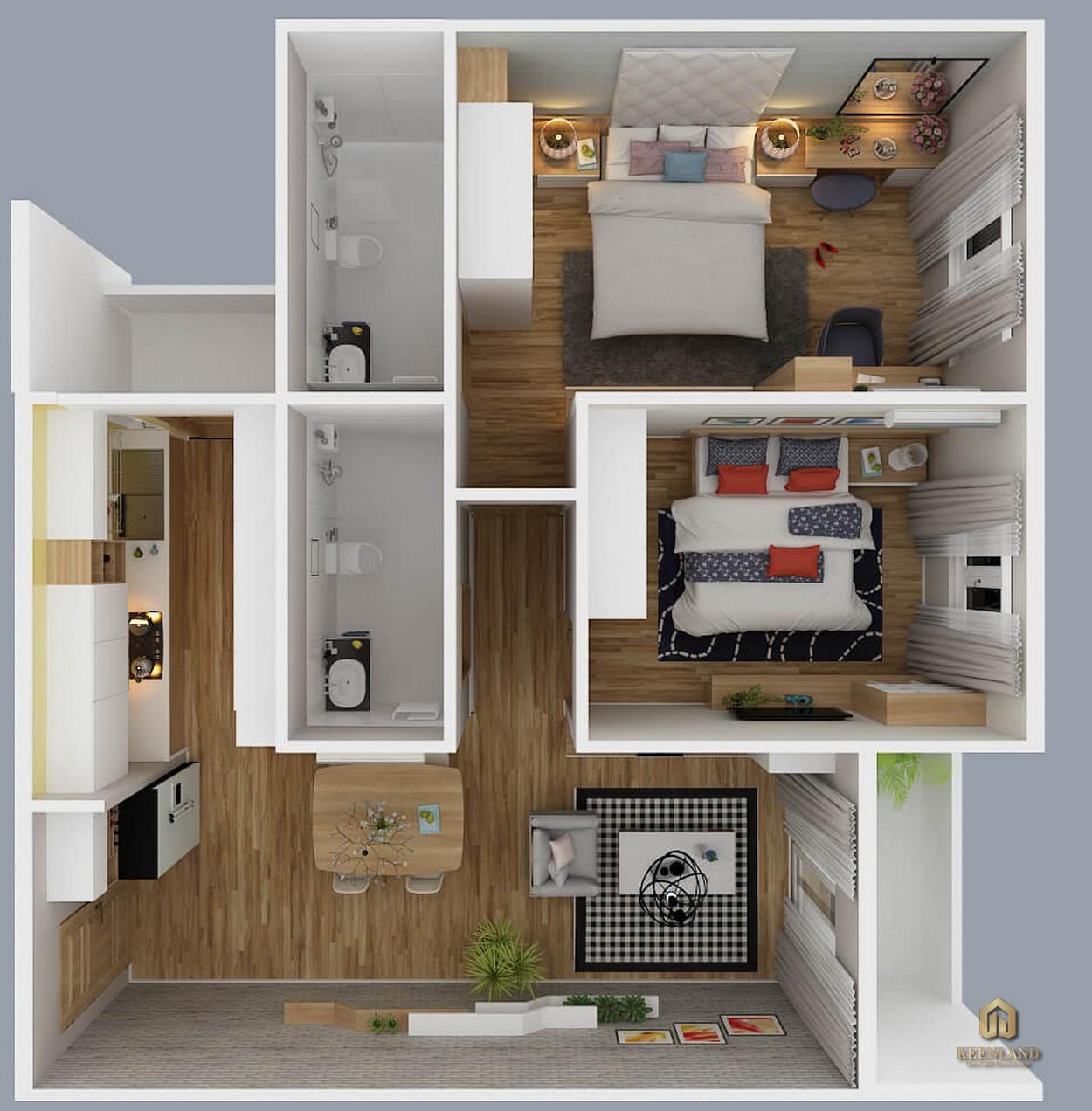 Thiết kế chi tiết căn hộ City Gate 2 2 phòng ngủ