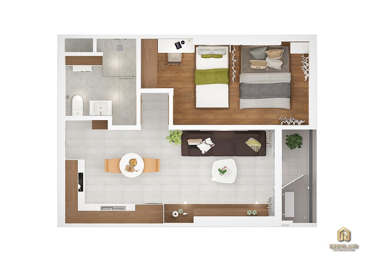 Thiết kế chi tiết căn hộ Kingdom 101 1 phòng ngủ
