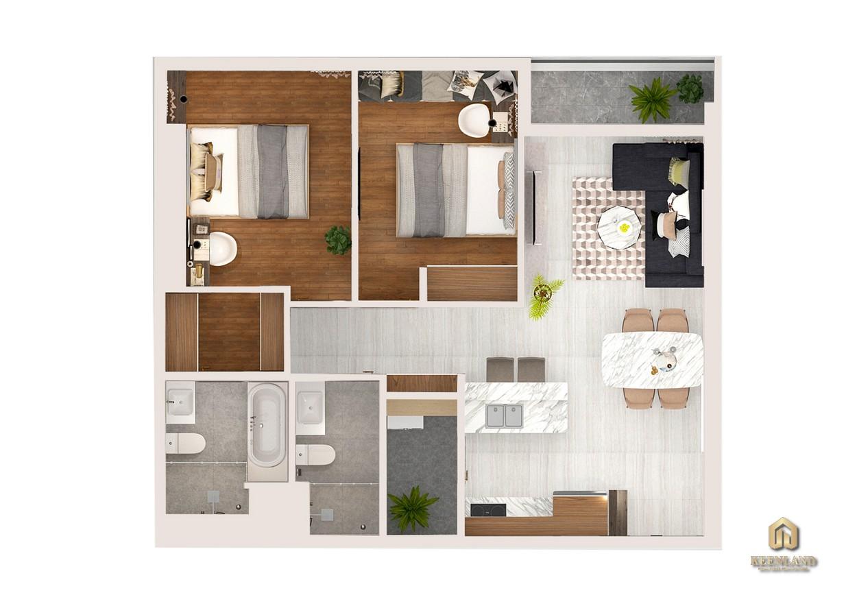Thiết kế chi tiết căn hộ Kingdom 101 2 phòng ngủ