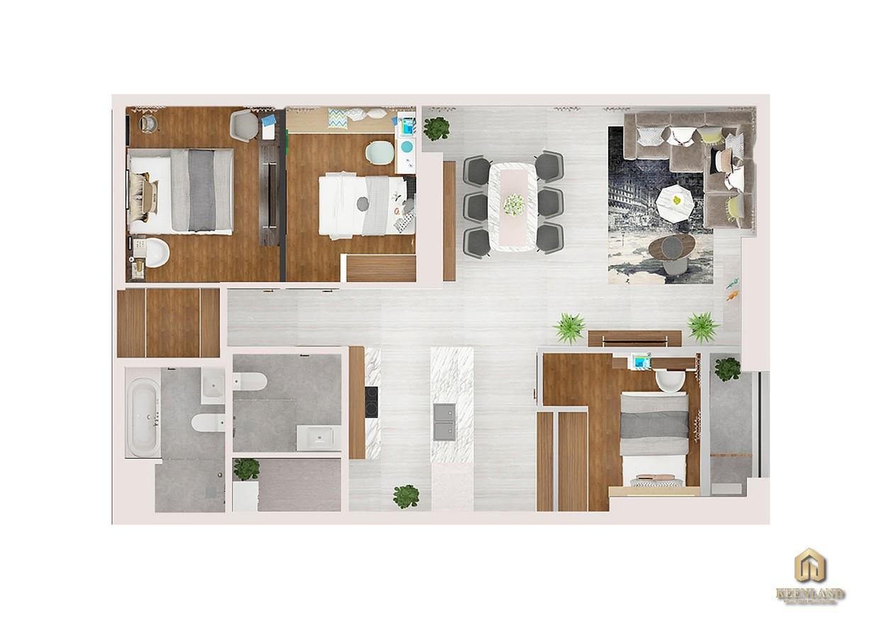 Thiết kế chi tiết căn hộ Kingdom 101 3 phòng ngủ