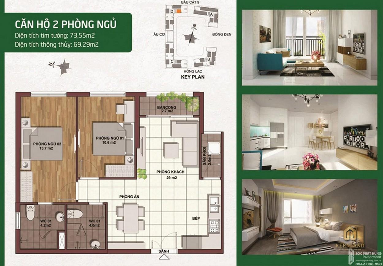 Thiết kế chi tiết căn hộ Palacio Garden 2 phòng ngủ