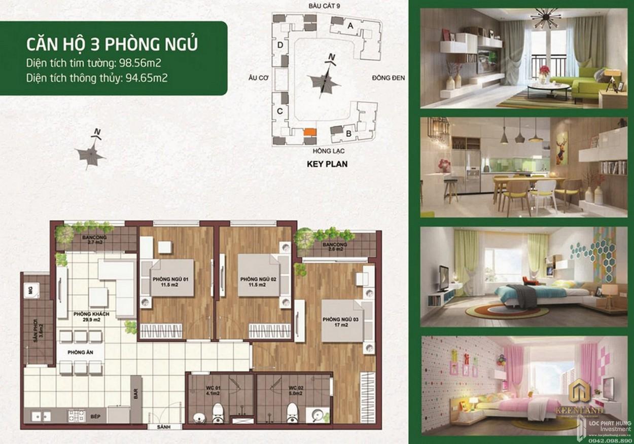 Thiết kế chi tiết căn hộ Palacio Garden 3 phòng ngủ