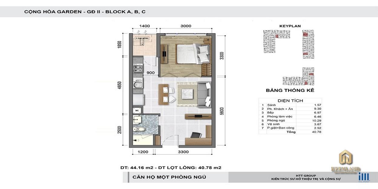 Thiết kế chi tiết căn hộ 1 phòng ngủ Cộng Hòa Garden