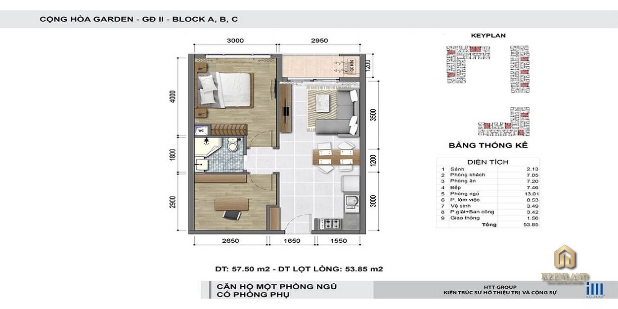 Thiết kế chi tiết căn hộ 1 phòng ngủ + 1 phòng phụ Cộng Hòa Garden