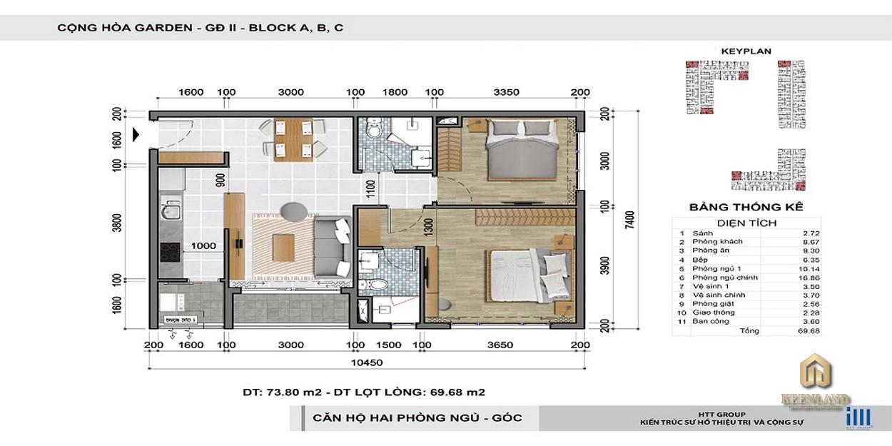 Thiết kế chi tiết căn hộ 2 phòng ngủ Cộng Hòa Garden